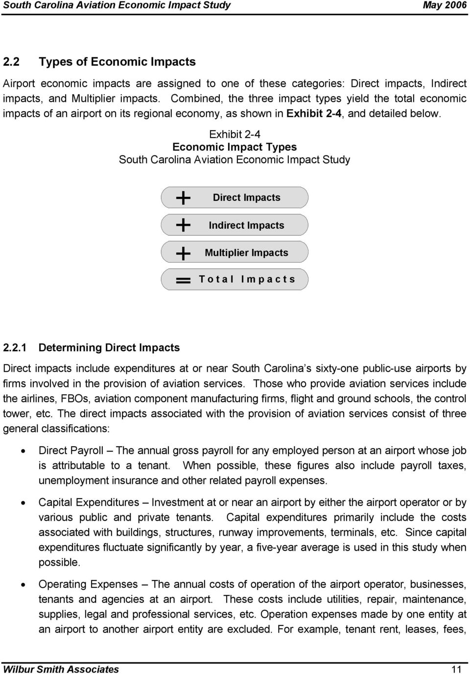 Exhibit 2-4 Economic Impact Types South Carolina Aviation Economic Impact Study Direct Impacts Indirect Impacts Multiplier Impacts T o t a l I m p a c t s 2.2.1 Determining Direct Impacts Direct impacts include expenditures at or near South Carolina s sixty-one public-use airports by firms involved in the provision of aviation services.