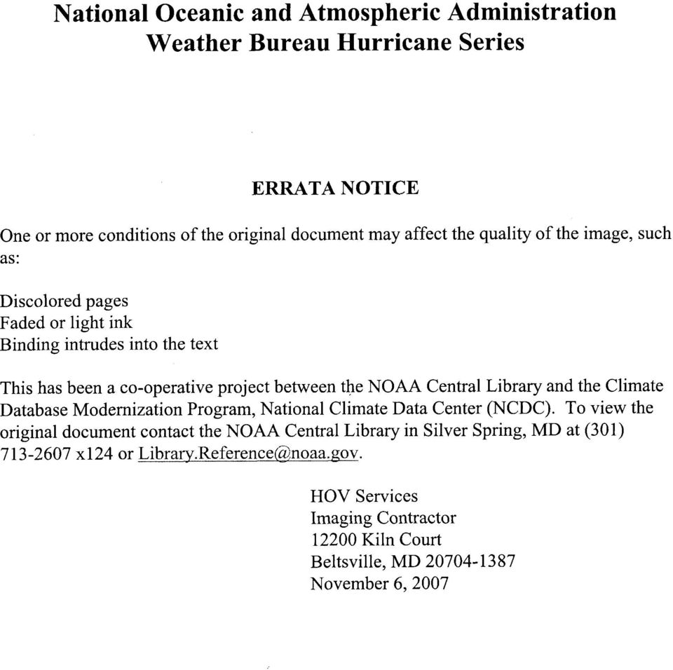 Library and the Climate Database Modernization Program, National Climate Data Center (NCDC).