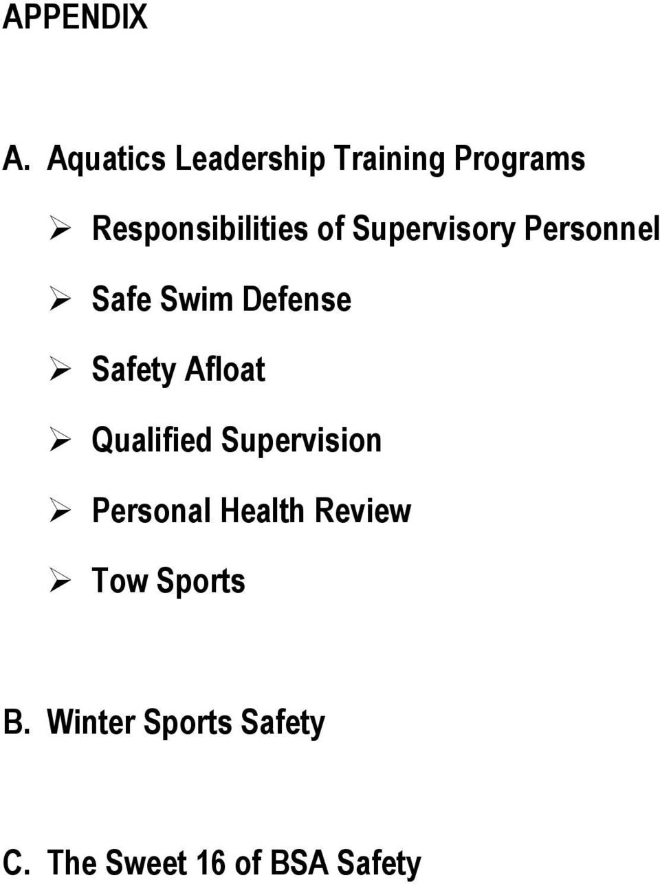 Supervisory Personnel Safe Swim Defense Safety Afloat