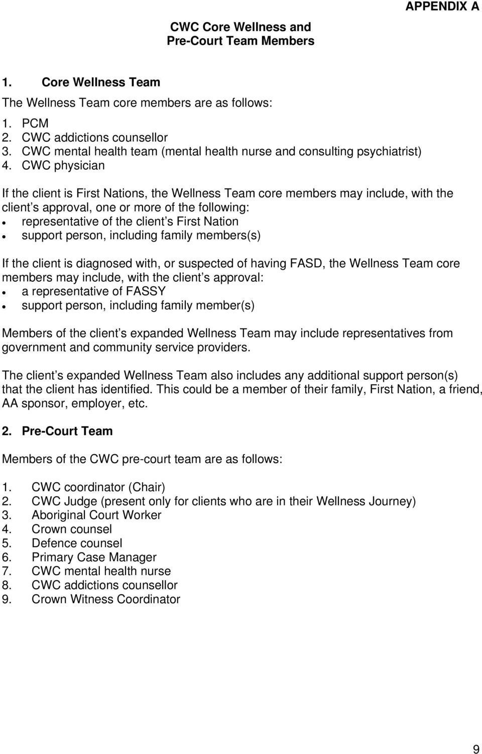 CWC physician If the client is First Nations, the Wellness Team core members may include, with the client s approval, one or more of the following: representative of the client s First Nation support