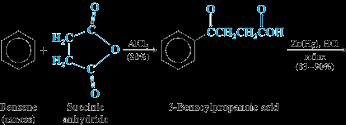 Examples This method can be used to add a ring to an aromatic ring starting with a cyclic anhydride (Note that the