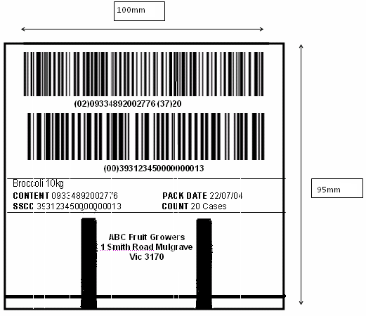 Pallet Label Example (Not to scale) Barcodes must include: Pre Packs/Packaged goods must include a Best Before/Use by on labels.
