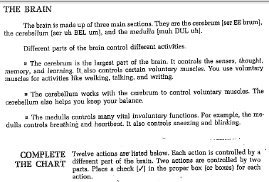 Action Controlled by cerebrum cerebellum Medulla (mid brain and brain stem) 1 Hearing 2 Seeing 3 Moving