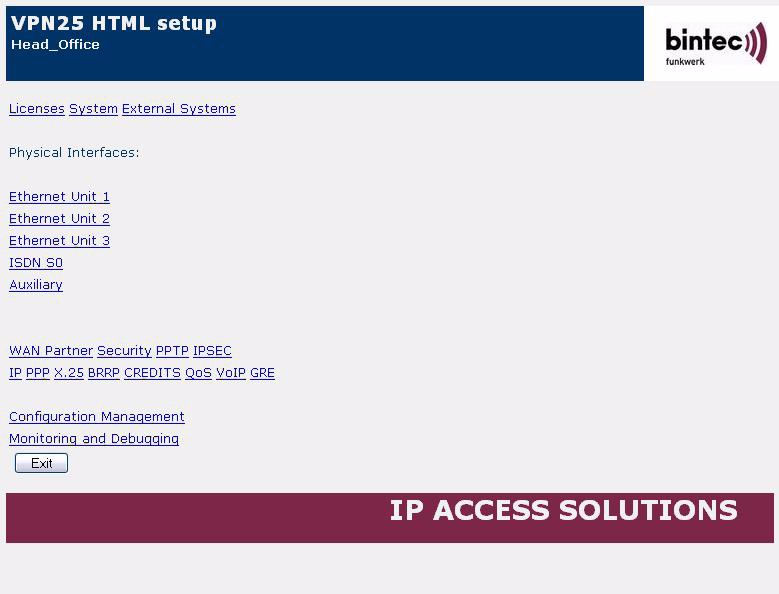 Configuration 2 Proceed as follows to start the Setup Tool: Click the ADVANCED CONFIGURATION link. Enter the login data of your router, e.g. admin / bintec. 2.4 SSH Client bintec routers with software 7.