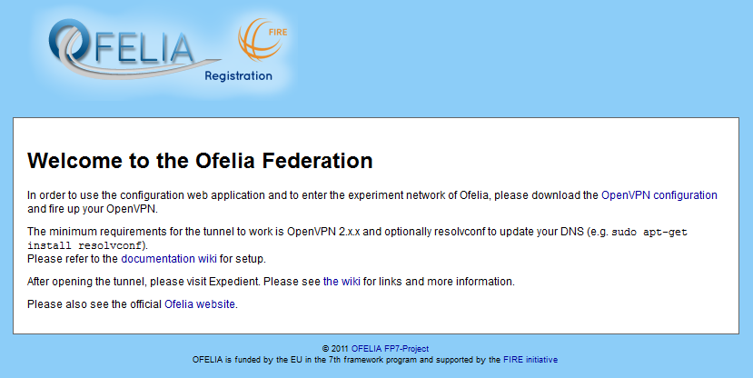 Figure 3: OFELIA Page for Login to OFELIA Upon successful login, you will be directed to the OFELIA welcome page (see Figure 4) which contains the OFELIA