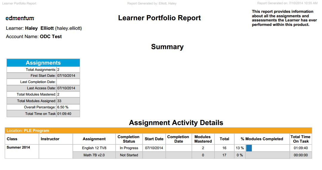 Portfolio Report This report is a comprehensive view of all of your work in a course or assessment. Class Displays the class name for each assignment.