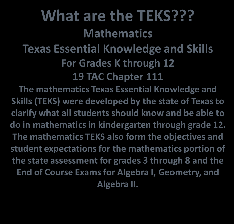What are the TEKS?