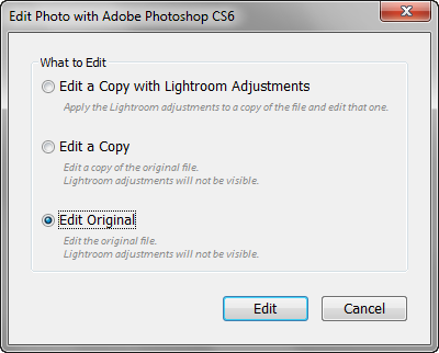 Extending editing capabilties with Adobe Photoshop In Lightroom you can only push an image so far. For more advanced photo retouching and pixel level editing, open the image in Photoshop.