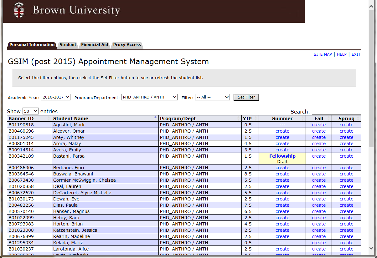 Improved Student List The student appointment list has several improvements. From left to right in the below image they are: 1) Display: You can adjust the number of entries shown via a dropdown.