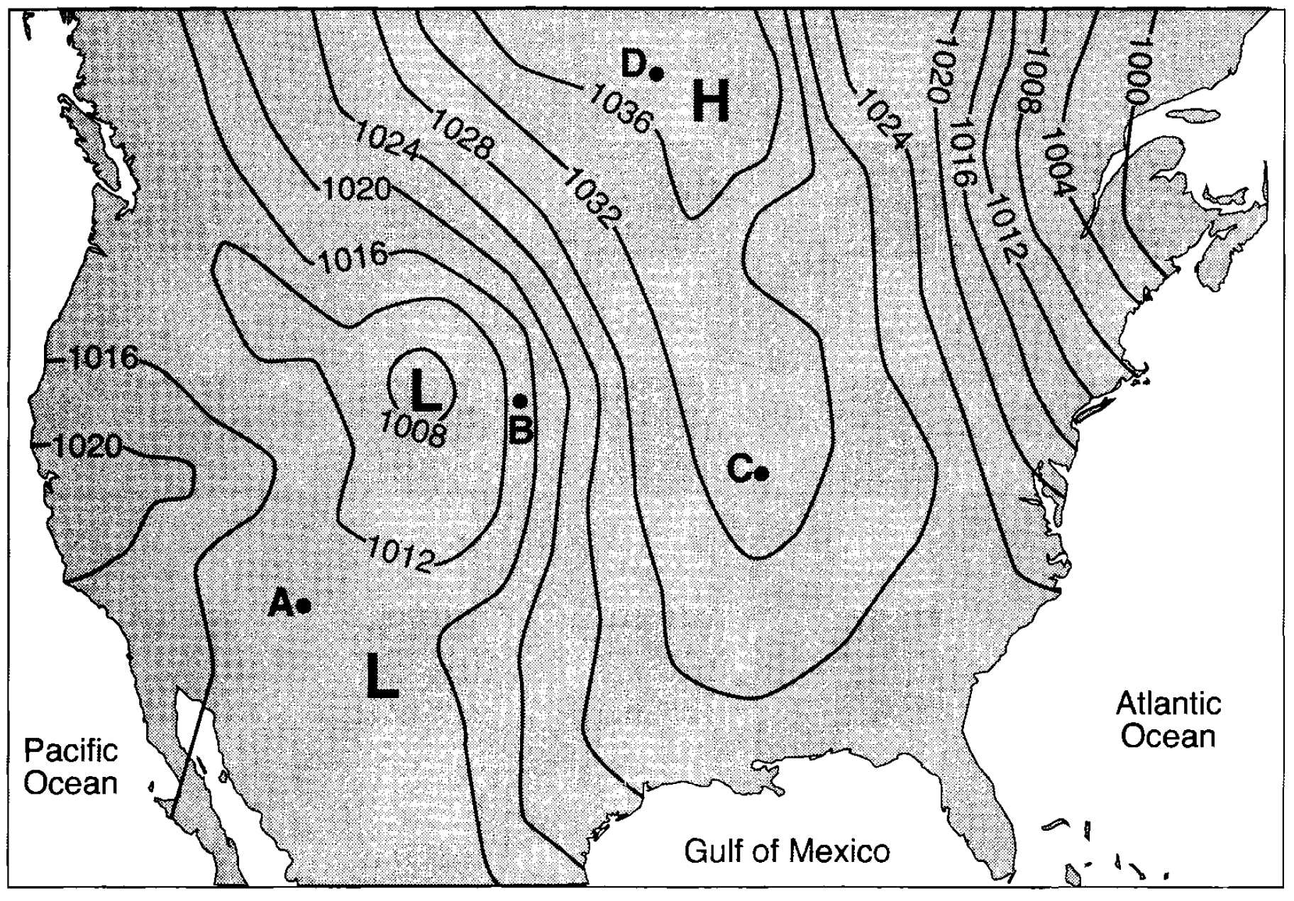 65. Base your answer to the following question on the weather map below, which shows a storm system centered near the Great Lakes. Letters A through D represent weather stations shown on the map.