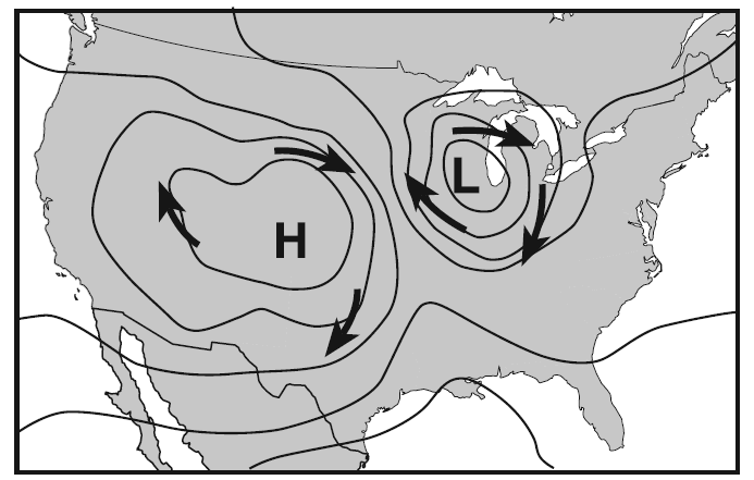 Base your answers to questions 67 through 70 on the weather map below, which shows the locations of a high-pressure center (H) and a low-pressure center (L) over a portion of North America.