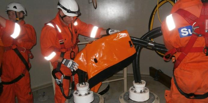 Confined space Inspection & Repair Adjustment of J-tubes Confined space