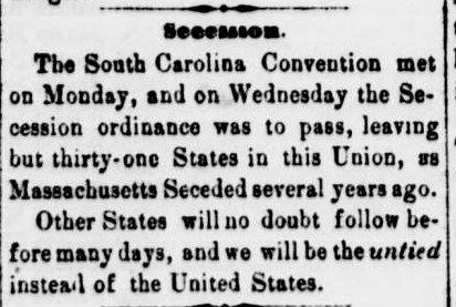 South Carolina Was the first of 11 states to secede and break away from the United States. Secession States began to secede- leave the union- December 20, 1860.