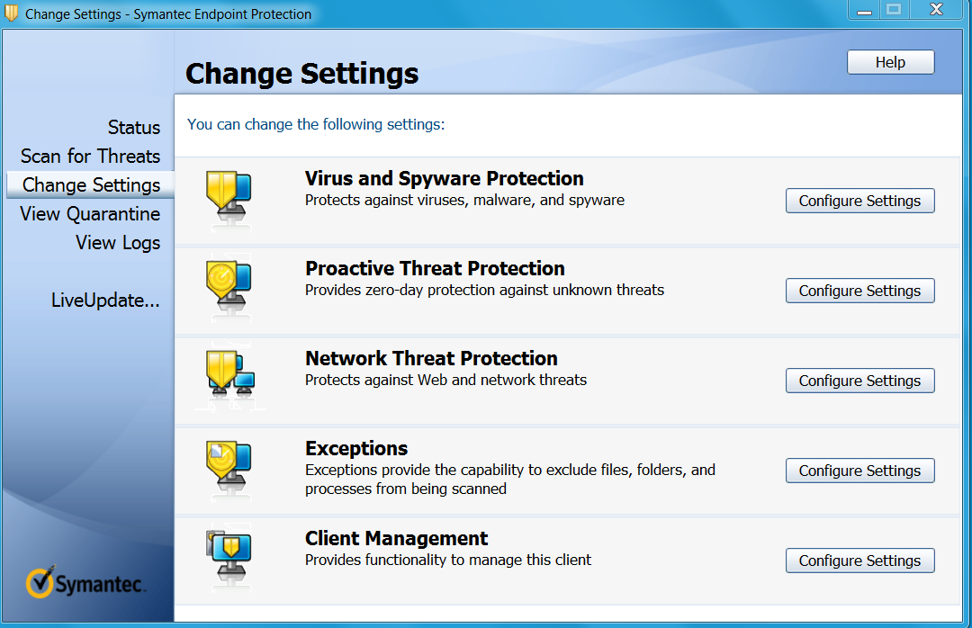 1.3 Symantec 1. Open Change Settings - Symantec End point Protection on the client 2.