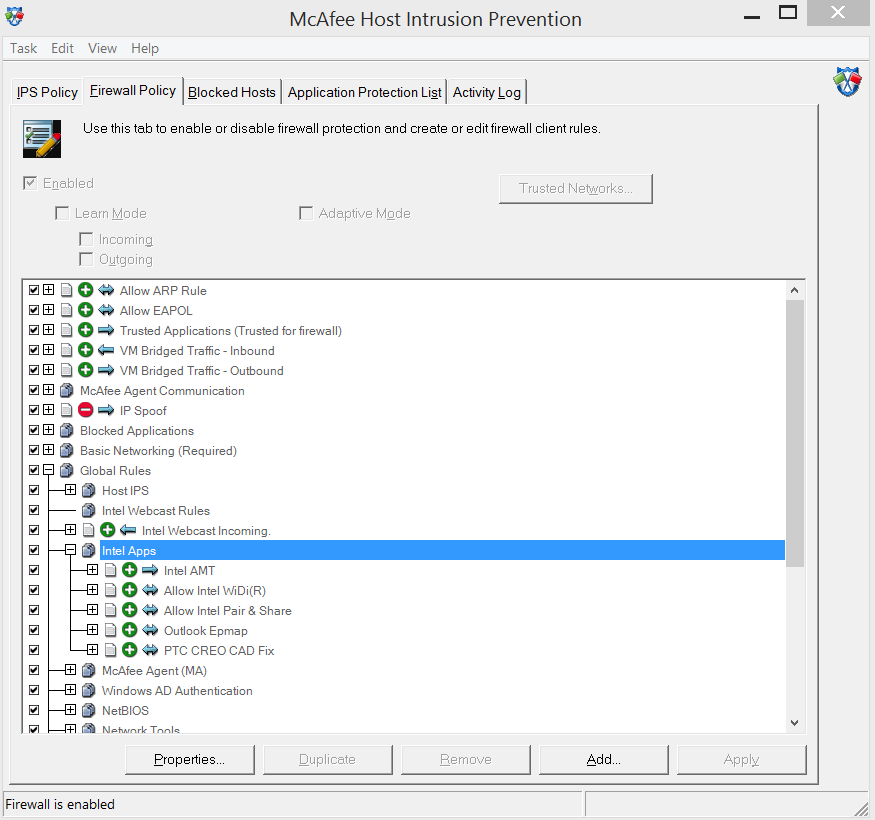 1.2 McAfee Host Intrusion Prevention 1. In the taskbar, click on the McAfee icon and from the opened menu, select Manage Features Host Intrusion Prevention. 2.