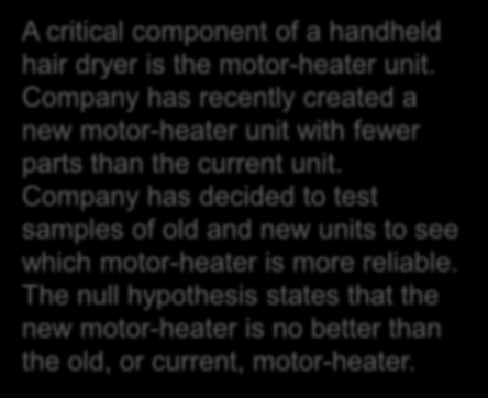 Hypothesis Testing for Two Population Proportions - Example A critical component of a handheld hair dryer is the motor-heater unit.