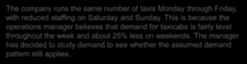 Chi-Square Goodness-of-Fit Test - Example The company runs the same number of taxis Monday through Friday, with reduced staffing on Saturday and Sunday.