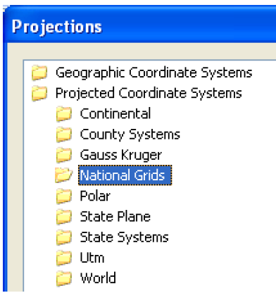 Geographic Coordinate Systems to close them) Projected Coordinate Systems 3.