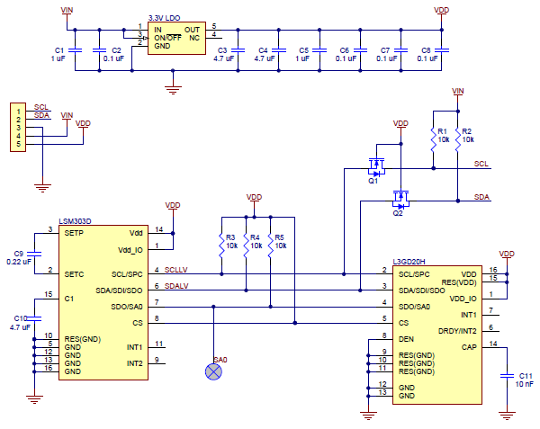 SCL SDA GND VIN VDD SA0 Level-shifted I²C clock line: HIGH is VIN, LOW is 0 V Level-shifted I²C data line: HIGH is VIN, LOW is 0 V The ground (0 V) connection for your power supply.