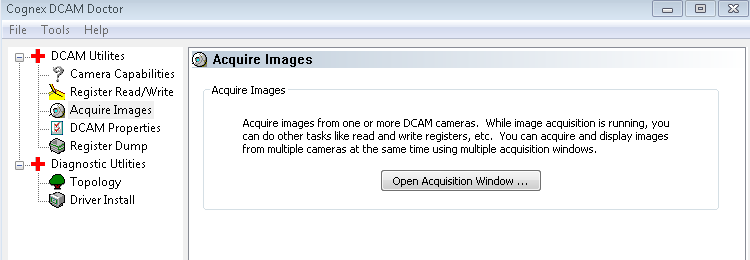 To use Cognex DCAM Doctor: 1 Launch DCAM Doctor from C:\Program Files\Cognex\VisionPro\bin\dcamdoctor.exe.