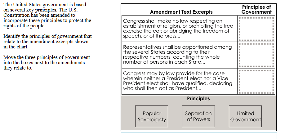 Question 3 15293 Points Possible: 2 Course: American Government Content Statement: Constitutional government in the United States has changed over time as a result of amendments to the U.S. Constitution, Supreme Court decisions, legislation and informal practices.