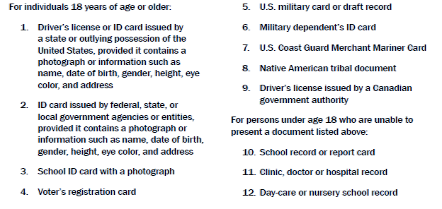 Acceptable Documents for Verifying Employment Authorization and Identity The following documents have