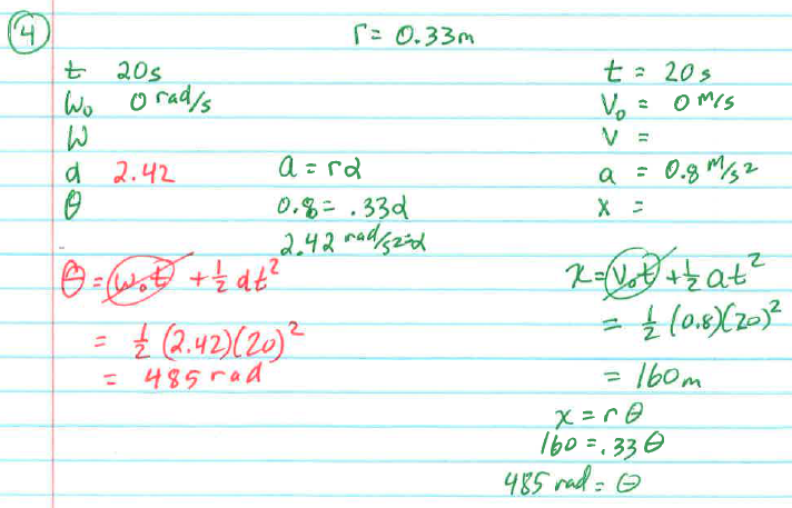 Example 4. An automobile starts from rest and for 20.0 s has a constant linear acceleration of 0.800 m/s 2 to the right.