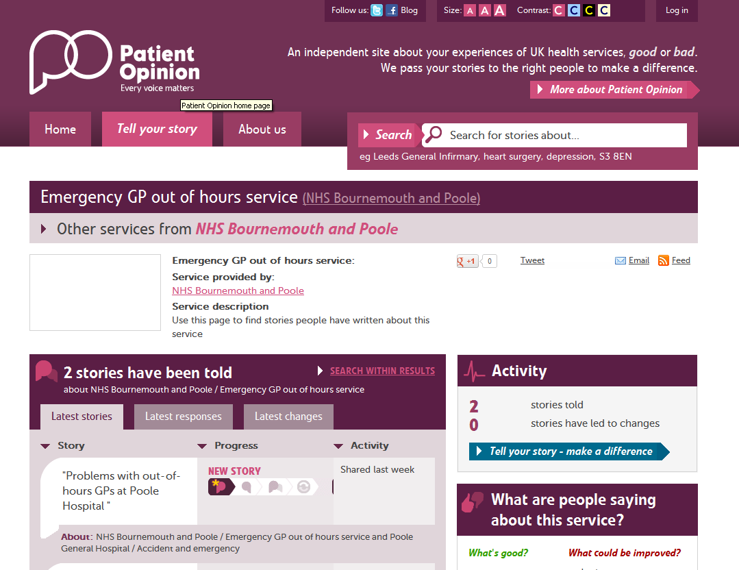Website research We researched 'NHS Poole out of hours' it gave us lots of results, there was a generic website giving us an idea about out of hours.