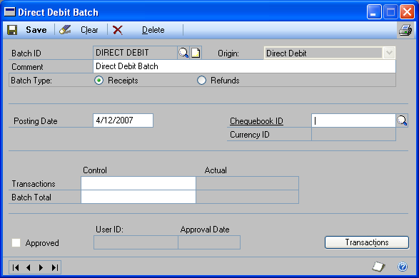 Chapter 10: Direct debit processes You can create a direct debit batch, select a range of transactions marked as direct debits for processing, void transactions in a processed batch, and apply the