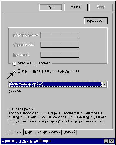 Configuring PC in Windows NT4.0 1. Go to Start / Settings / Control Panel. In the Control Panel, double-click on Network and choose the Protocols tab. 2.