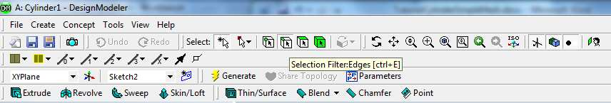 On the upper tools bar, select the icon corresponding to Selection Filter: Edges. Place the mouse near the left end of the rectangle and left click to highlight it (green).