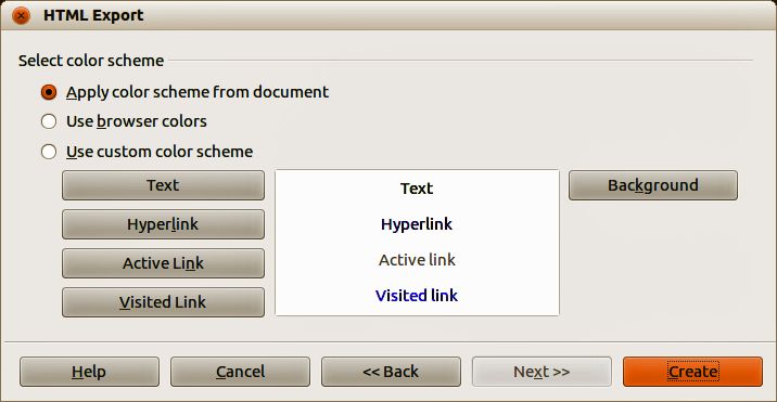 Figure 15: HTML Export dialog button style page 9) Select color scheme to be used for the web pages (Figure 16) such as the color scheme and colors for text and background.