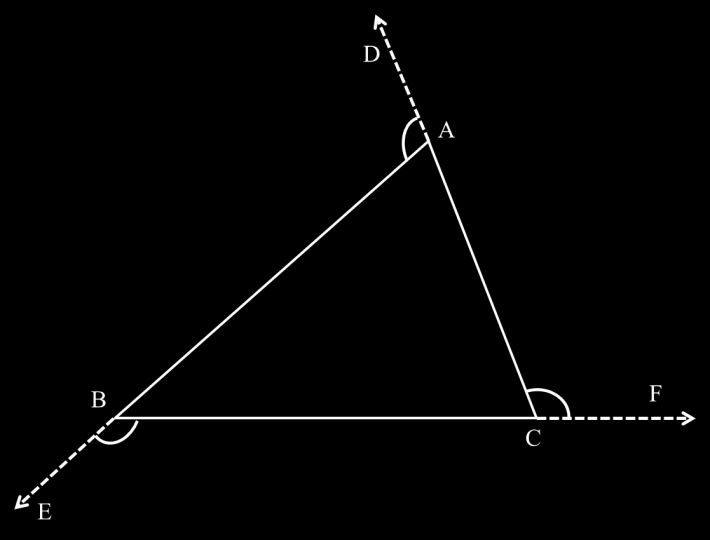 The exterior angle is an angle between one side of a triangle and the extension of an adjacent side.