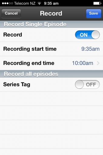 Set up Recordings and Series Tag recordings 1. To record current and future programs via the TV Guide find and select the channel and program you want to record. 2. Select the Record option.