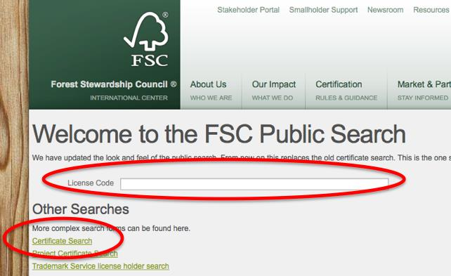 Public Certificate Search: Certified suppliers information can be searched and verified by FSC