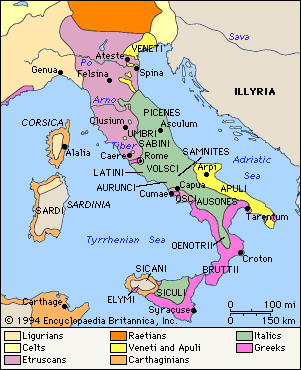 Early People of Italy Latins, Greeks, and Etruscans all settled in Italy and eventually the Latins took control Early Romans