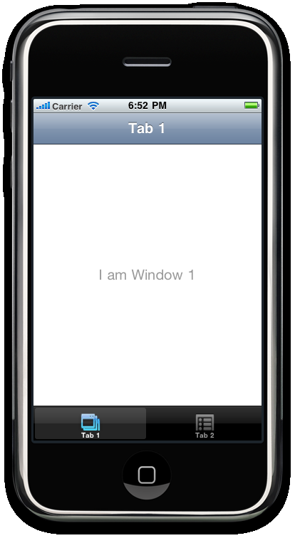 Then the image will automatically flip to the I am Window 1 display, with two tabs named (unsurprisingly) Tab 1 and Tab 2.