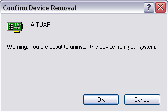 2. In the Device Manager window, right click over the AITUAPI and the USB-A429 entry and select Uninstall. 3.