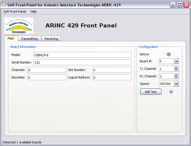 5 ARINC-429 SOFT FRONT PANEL This section specifies the use of the ARINC-429 Soft Front Panel (SFP) GUI application.
