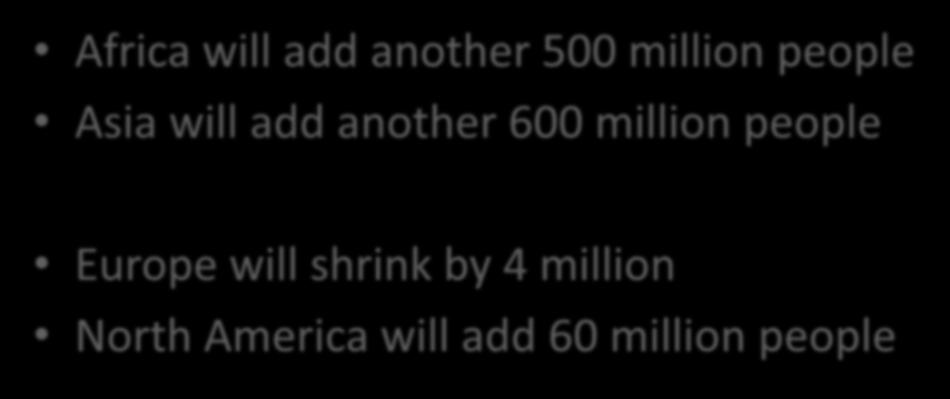 Population - 2030 Africa will add another 500 million people Asia will add another 600