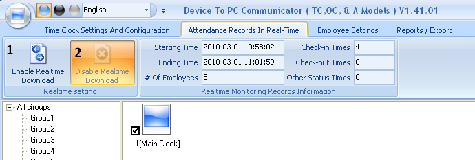 7) Download All or New IN / OUT Records: This is the button used to transfer the attendance records from the time clock to the Bio-Office Standard software database.