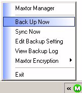 A Backup Progress window opens to inform you of the progress of the manual backup