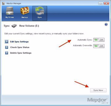 Figure 47: Sync Settings Step 2: In the Sync window, click the Automatic Sync Off button.