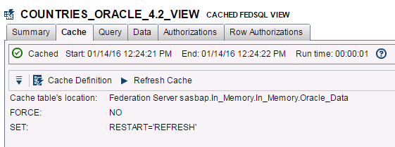 CACHE ENHANCEMENTS Cache enhancements that include cache refresh for data held in memory We can now cache queries to the MDS (Memory Data Store) = FAST PERFORMANCE Federation Server now has