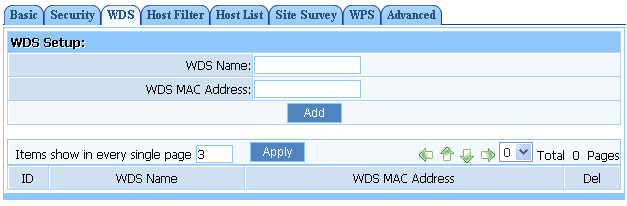 Figure 7-7 Click on Wireless Management - AP Setup - WDS.