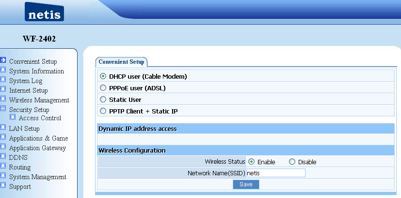7. Router Setup 7.1. Internet Connection Settings Most connections utilize a dynamic IP (DHCP) and the default is already set to this.