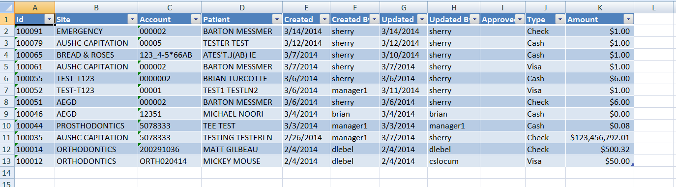 Click on the Generate Transaction History button to generate a formatted listing including update history rows for each