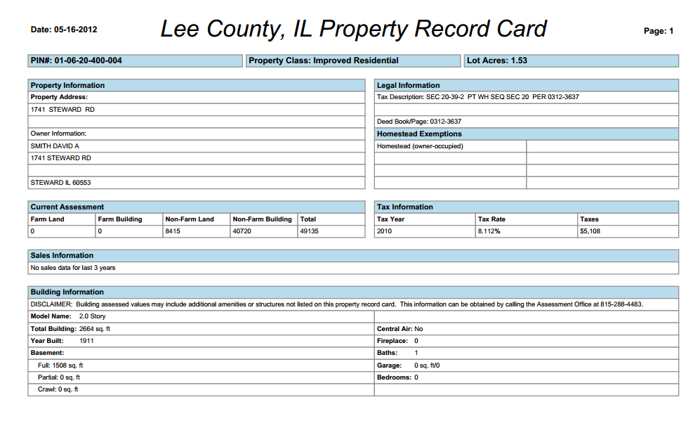 Page 8 VIEW PROPERTY RECORD CARD: This feature allows you to view the property cards for ALL of the parcels included in the search Results window.