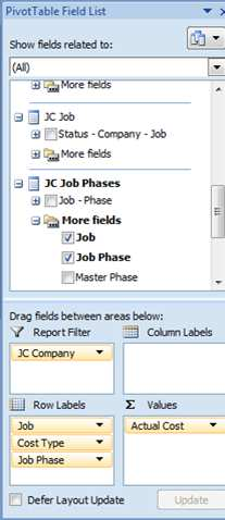 Exercise 2: Creating Hierarchies in Excel 1. Copy pivot table from previous step. 2. Add Job and Job Phase to Rows.