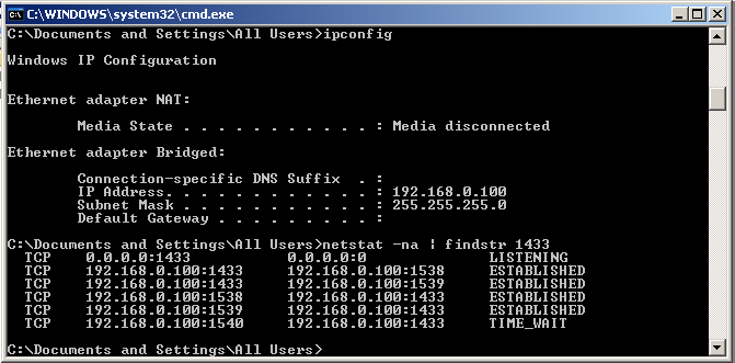 The connection can also be checked by using Command Prompt.